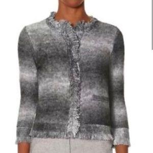 Gray fringe ombré cardigan